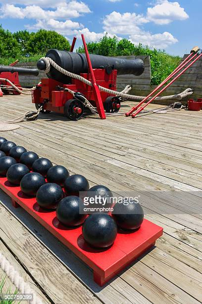 fort mchenry cannons - fort mchenry stock photos and pictures