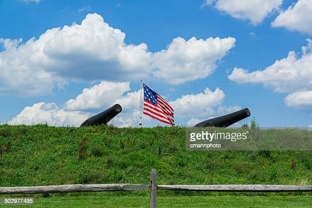 fort mchenry - cannons - fort mchenry stock photos and pictures