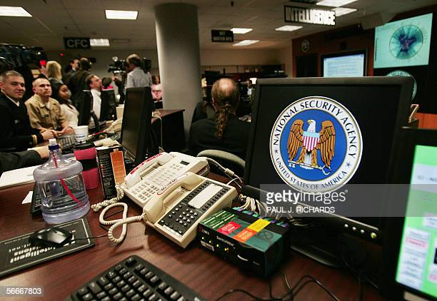 A computer workstation bears the National Security Agency logo inside the Threat Operations Center inside the Washington suburb of Fort Meade...