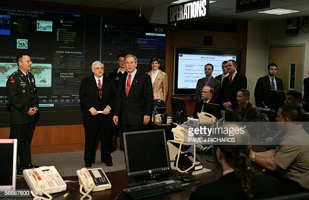 US President George W Bush tours the Threat Operations Center inside the National Security Agency 25 January 2006 in suburban Fort Mead Maryland Bush...