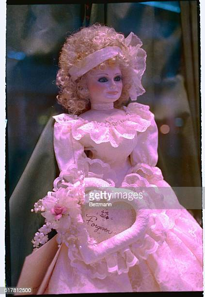 Fort Mill South Carolina A toy doll made to resemble Tammy Faye Bakker is adorned with a cloth heart inscribed with the word forgiven as it sits in...
