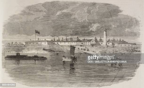 Fort Monroe seen from the James River Virginia American Civil War illustration from the magazine The Illustrated London News volume XXXVIII May 25...