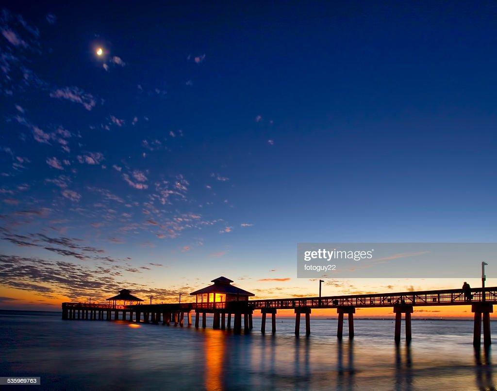 Fort Myers Beach Pier at Dusk 1 : Stock Photo