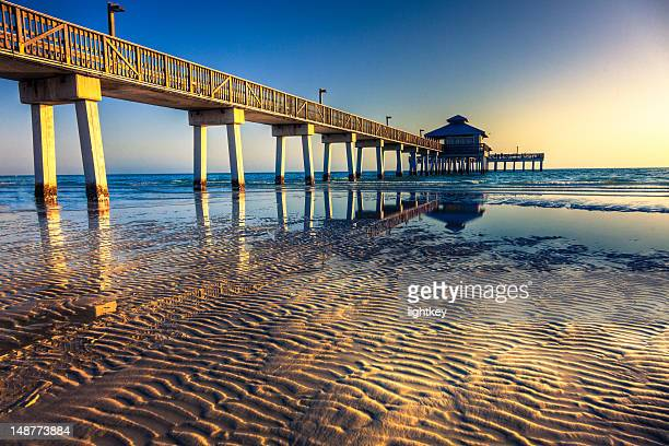 fort myers beach pier - fort myers beach stock pictures, royalty-free photos & images