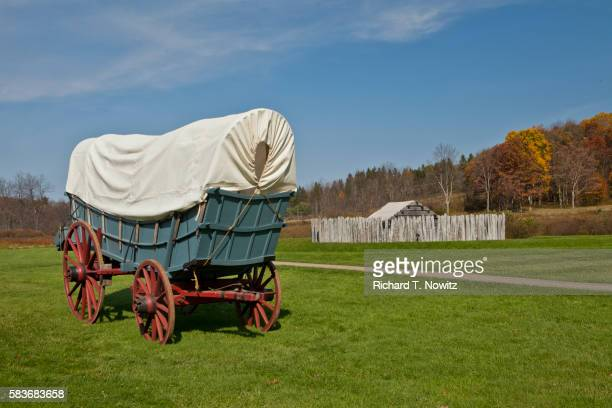 fort necessity national battlefield with conestoga wagon - french_and_indian_war stock pictures, royalty-free photos & images