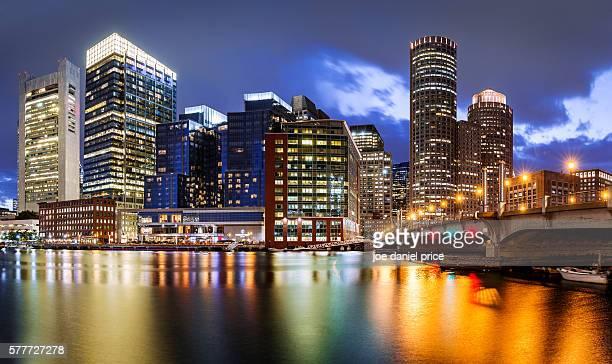 Fort Point Channel, Boston, Skyline, Massachusetts, America