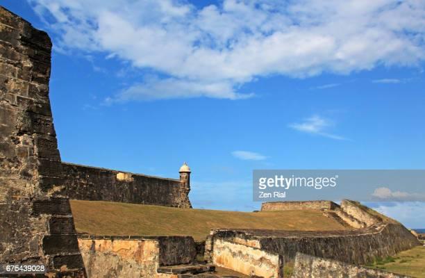 fort san cristobal (castillo san cristobal) in old san juan, puerto rico - old san juan wall stock photos and pictures