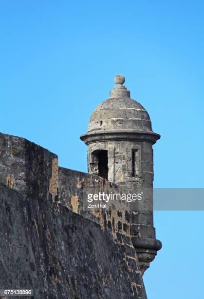 fort san cristobal (castillo san cristobal) sentry - old san juan, puerto rico - old san juan wall stock photos and pictures