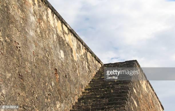 fort san cristobal (castillo san cristobal) wall in old san juan, puerto rico - old san juan wall stock photos and pictures