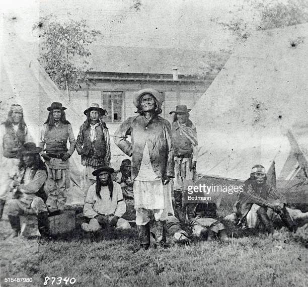 Fort Sill OK Geronimo American Apache Chieftain with Natchez as prisoners at Fort Sill Oklahoma