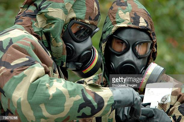 Fort Story, Virginia. (October 27, 2006) - Explosive Ordnance Technicians run tests on substances for an exercise on chemical warfare.