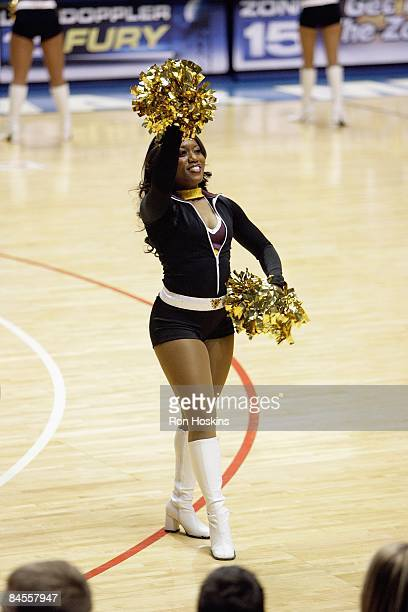 Fort Wayne Mad Ants cheerleader performs during the DLeague game against the Anaheim Arsenal at Allen County Memorial Coliseum on January 11 2009 in...