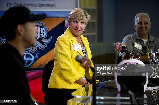 Fort Worth Mayor Betsy Price looks on during a press conference before the start of the 2013 Mayor's Cup on July 26, 2013 at Texas Motor Speedway in...