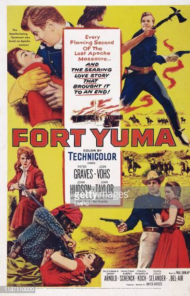Fort Yuma poster US poster art top left and bottom right Peter Graves Joan Vohs 1955