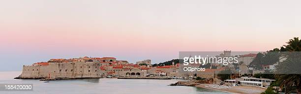 fortefied medieval city of dubrovnik, croatia at dawn. - ogphoto stock pictures, royalty-free photos & images