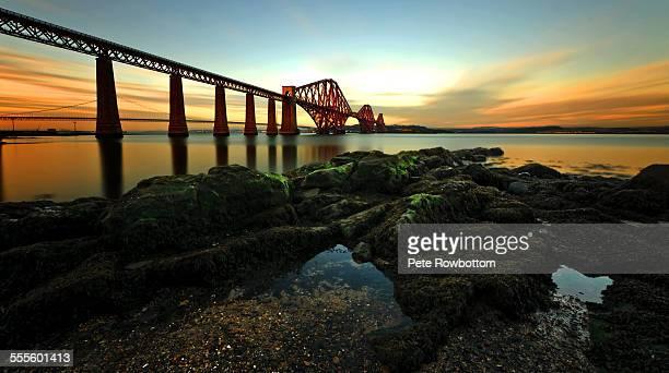 forth bridge sunset - edinburgh stock pictures, royalty-free photos & images