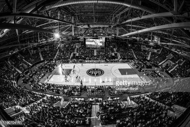 Forth quarter action between the Mississauga Raptors 905 and the Greensboro Swarm at the Paramount Fine Foods Centre on December 28, 2019 in...