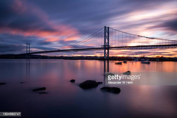 forth road bridge - sunset stock pictures, royalty-free photos & images