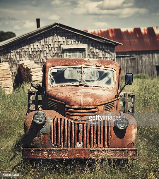 forties farm truck - abandoned stock photos and pictures