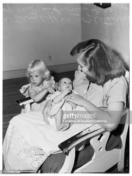 Fortieth Division baby 31 August 1951 Mrs Janice Leff Catherine Joy Leff 1montholdTerry Leff 20 monthsCaption slip reads 'Monday Photographer Gaze...