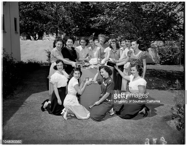 Fortieth Division wives 5 August 1951 Mrs Marcia RosenheckMrs Phyllis GoldmannMrs Juanita SmithMrs Phyllis SilveyMrs Arlene SchwartzMrs Mary...