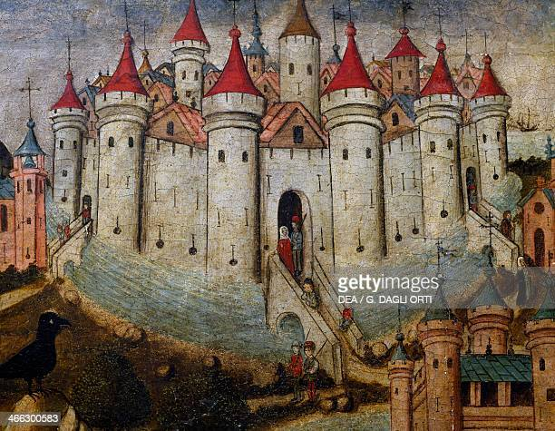 Fortified city 15th century painting by an unknown Spanish artist