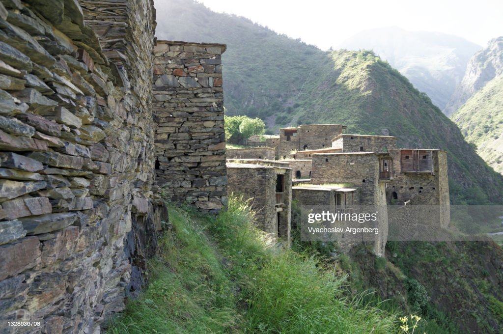 Fortified houses on the cliffs, Shatili, Caucasus Mountains, Georgia : Stock Photo