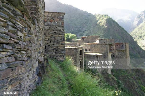 fortified houses on the cliffs, shatili, caucasus mountains, georgia - argenberg stock pictures, royalty-free photos & images