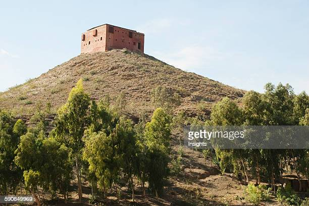 Fortified Military Guard Tower Overlooking The Khyber Pass Federally Administered Tribal Areas Pakistan