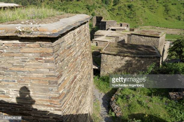 fortified stone houses of shatili, khevsureti, georgia - argenberg stock pictures, royalty-free photos & images