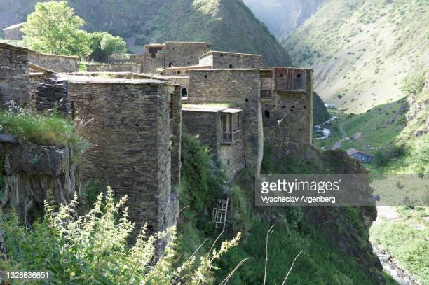 fortified stone houses on the cliffs, shatili, caucasus mountains, georgia - argenberg stock pictures, royalty-free photos & images