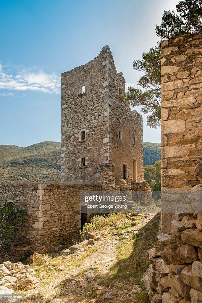 Fortified Tower-house of Vathia, Mani Peninsula : Stock Photo