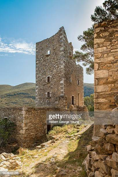 fortified tower-house of vathia, mani peninsula - peloponnese stock photos and pictures