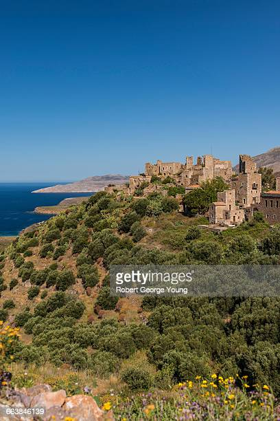 fortified tower-houses of vathia, mani peninsula - peloponnese stock photos and pictures