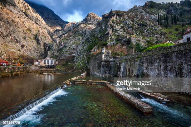 Fortified wall by sea, Kotor, Montenegro