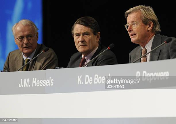 Fortis Vice Chairman Jan Michiel Hessels speaks as he is seated with members of the Fortis board of directors Klaas Westdijk and Philippe Bodson at...