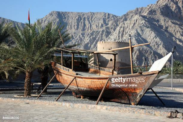 Fortress Cacapo with A Dhau Before It Alchasab Khasab in the Granny's Niches Enclave of Musandam Oman