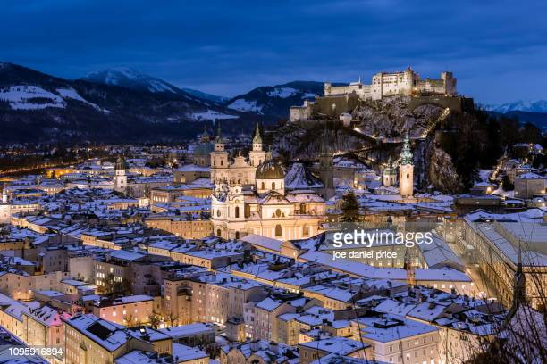 fortress hohensalzburg, churches, salzburg, austria - salzburger land stock pictures, royalty-free photos & images