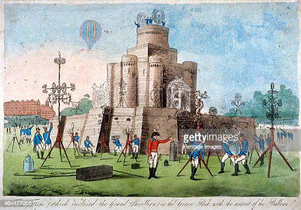 Fortress in Green Park Westminster London 1814 The fortress was built for a firework display to celebrate peace in 1814 Military figures are mounting...
