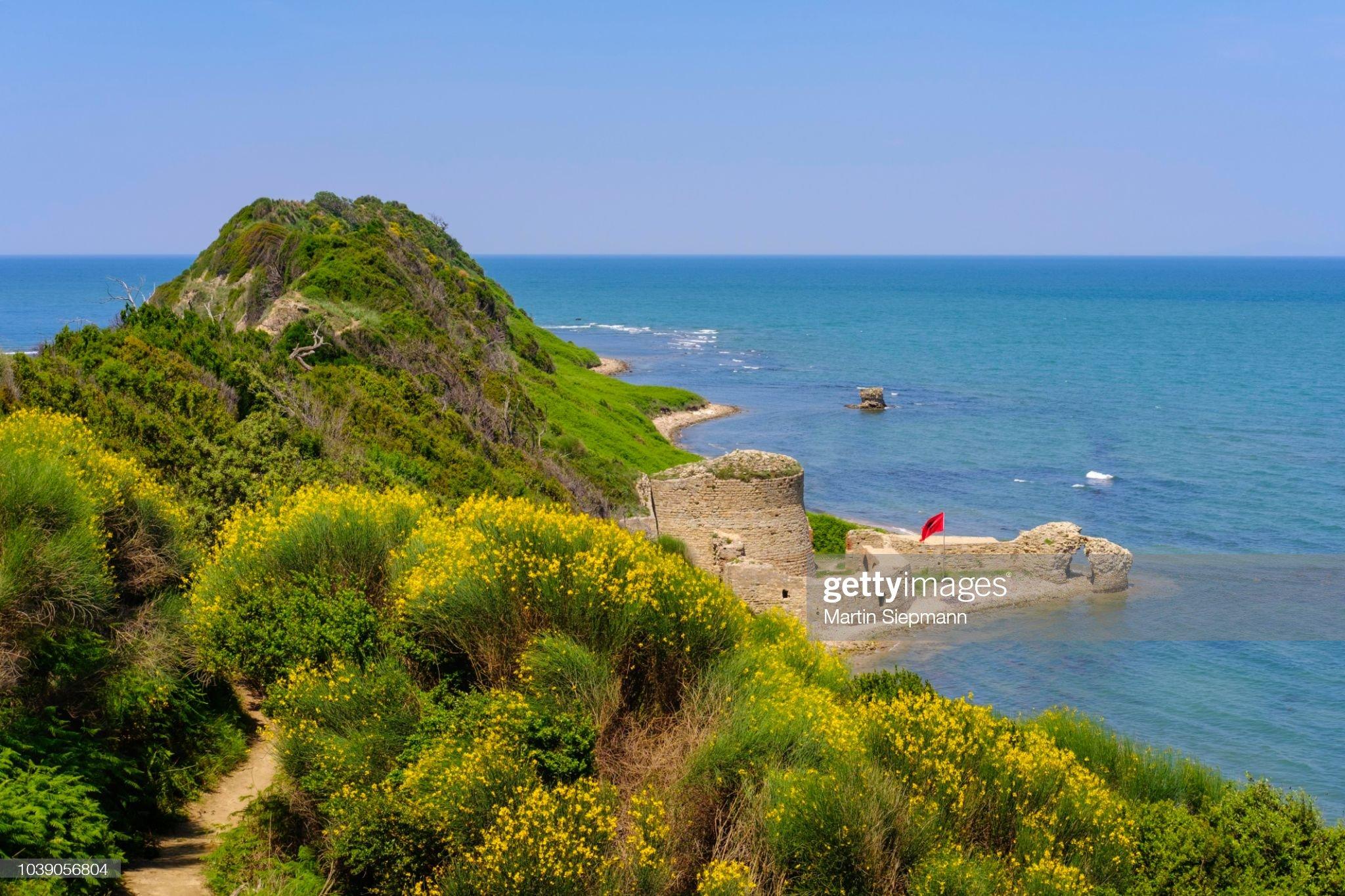 Fortress of Skanderbeg, Cape Rodon, Kepi i Rodonit, Adriatic, Ishem, Durres, Durres, Albania : Stock Photo