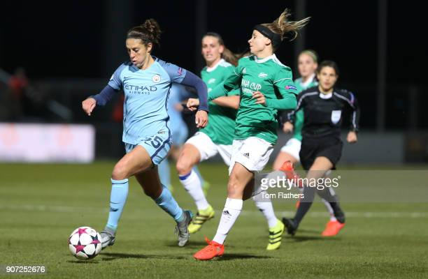Fortuna Hjorring Women v Manchester City Women UEFA Champions League Quarter Final First Leg Bredband Nord Arena Manchester City's Carli Lloyd in...
