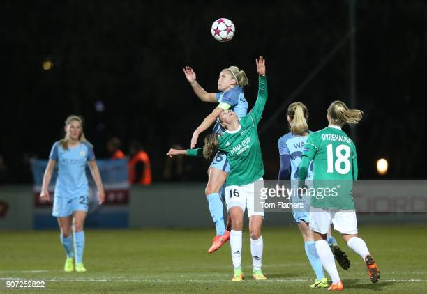 Fortuna Hjorring Women v Manchester City Women UEFA Champions League Quarter Final First Leg Bredband Nord Arena Manchester City's Steph Houghton in...
