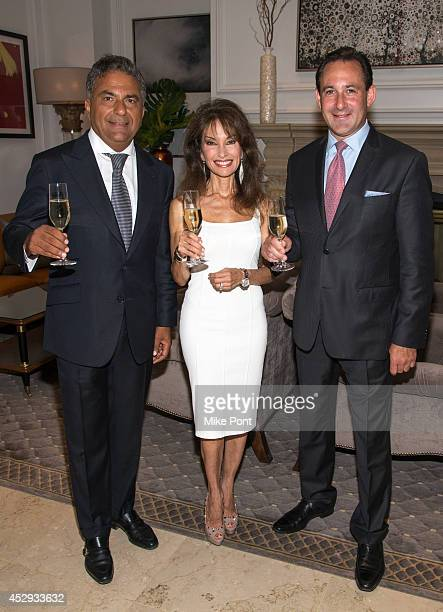 Fortuna Realty Group President Morris Moinian Susan Lucci and Garden City Hotel General Manager Grady Colin attend The Garden City Hotel 140th...
