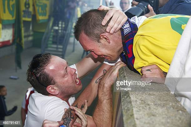 Fortuna Sittard fan with Fernando Ricksen of Team Fernando Ricksen during the Fernando Ricksen benefit game on May 25 2014 at the Trendwork Arena in...