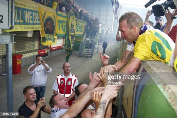 Fortuna Sittard fans with Fernando Ricksen of Team Fernando Ricksen during the Fernando Ricksen benefit game on May 25 2014 at the Trendwork Arena in...
