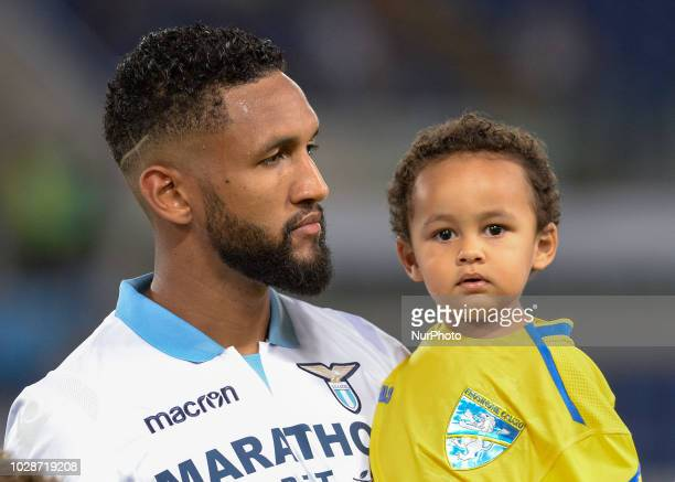 Fortuna Wallace and son during the Italian Serie A football match between SS Lazio and Frosinone at the Olympic Stadium in Rome on september 02 2018