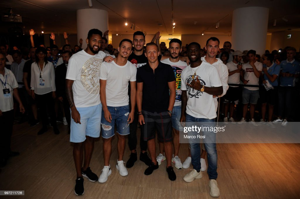 Fortuna Wallace, Luiz Felipe Ramos, Thomas Strakosha, Lucas Leiva, Luis Alberto, Quissanga Bastos and Silvio Proto of SS Lazio attend the SS Lazio unveil new shirt for 2018-19 Season on July 12, 2018 in Rome, Italy.
