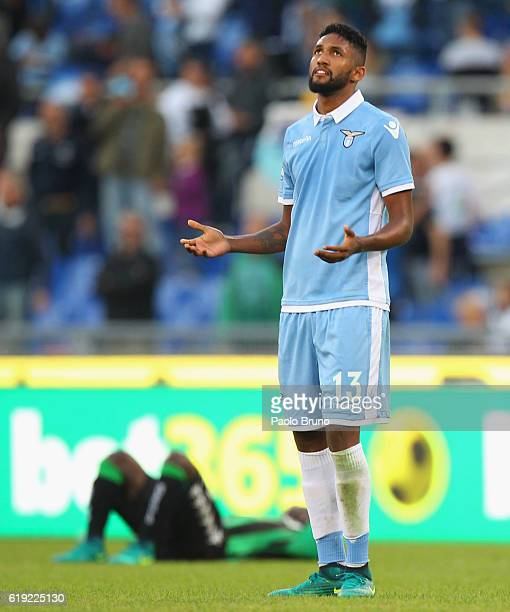 Fortuna Wallace of SS Lazio reacts after the Serie A match between SS Lazio and US Sassuolo at Stadio Olimpico on October 30 2016 in Rome Italy