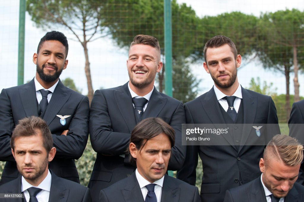 Fortuna Wallace, Sergej Milinkovic, Stefan De Vrji, Senad Lulic, Simone Inzaghi of SS Lazio pose during the official team photo on September 26, 2017 in Rome, Italy.