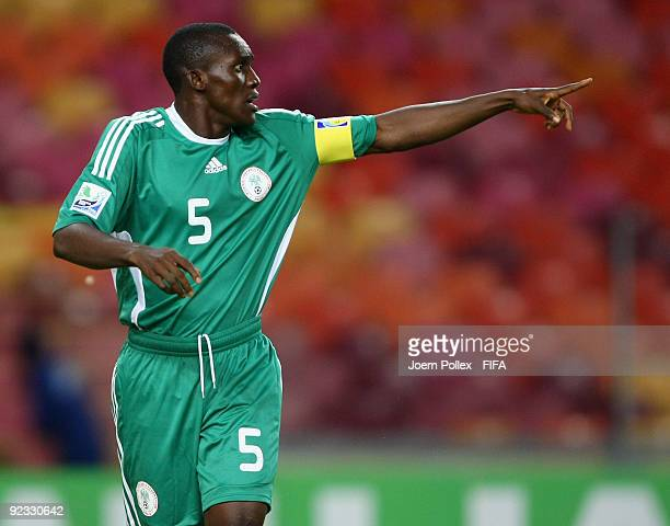 Fortune Chukwudi of Nigeria gestures during the FIFA U17 World Cup Group A match between Nigeria and Germany at the Abuja National Stadium on October...
